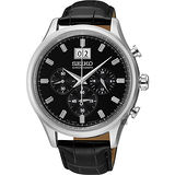 SEIKO 精工 CS 大日期爵士視窗計時皮帶腕錶/42mm/7T04-0AE0C