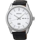 SEIKO 精工 簡約大三針太陽能男士皮帶腕錶/44mm/V158-0AS0W