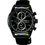SEIKO SPIRIT 太陽能鬧鈴兩地時間計時腕錶-黑/41mm V172-0AP0D(SBPY129G)