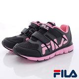 FILA頂級童鞋-輕量炫彩慢跑鞋-825Q-055黑粉-(17cm~22cm)