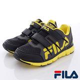 FILA頂級童鞋-輕量炫彩慢跑鞋-825Q-909黑黃-(17cm~22cm)