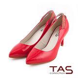 TAS 素面後鏤空水鑽一字繫帶尖頭高跟鞋-焦點紅