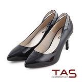 TAS 素面後鏤空水鑽一字繫帶尖頭高跟鞋-時尚黑