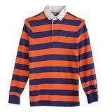 Ralph Lauren 小馬百領雙色條紋長袖男POLO衫(橘X藍)