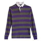 Ralph Lauren 小馬百領雙色條紋長袖男POLO衫(紫X綠)