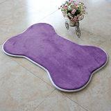 【旺寶】超強回彈優質珊瑚絨厚實狗骨頭造型地墊地毯腳踏墊(紫色)