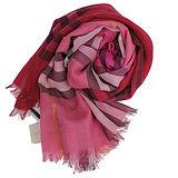 BURBERRY 經典大格紋羊毛絲綢披肩/圍巾(粉紅格)