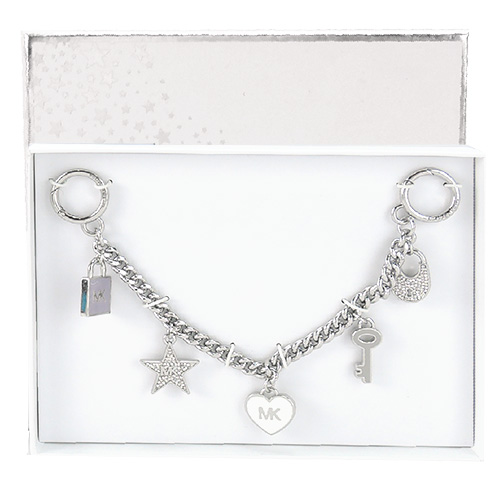 MICHAEL KORS 糖瓷愛心鑰匙鎖頭造型包包吊飾(灰/銀色)