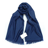 GUCCI 經典LOGO羊毛混紡薄圍巾(深藍)
