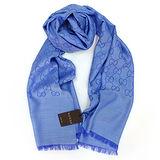 GUCCI 經典LOGO羊毛混紡薄圍巾(粉藍)