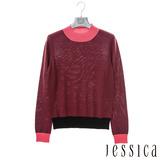 JESSICA-夏莉 跳色微高領羊毛衣-酒紅