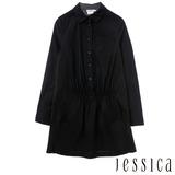JESSICA RED-歐美時尚輕夏縮腰襯衫-黑
