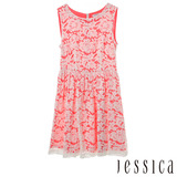JESSICA RED-甜美氣息蕾絲無袖洋裝-紅