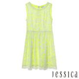 JESSICA RED-甜美氣息蕾絲無袖洋裝-黃