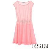 JESSICA RED-純真率性蕾絲條紋縮腰無袖洋裝