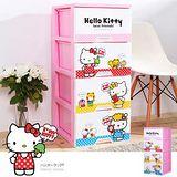 E&J HELLO KITTY四層櫃-DIY簡易組裝-點點(粉紅色) 005068-01