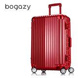 【Bogazy】迷幻森林 24吋鋁框PC鏡面行李箱(金屬紅)