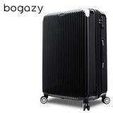 【Bogazy】冰封行者 20吋PC可加大鏡面行李箱/登機箱(極致黑)