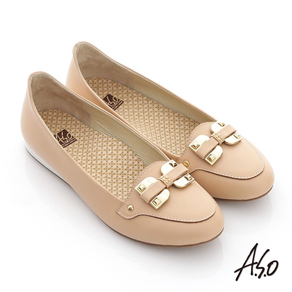 【A.S.O】活力勁步 全真皮蝴蝶釦環奈米平底鞋(卡其)