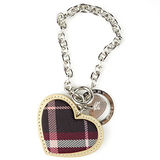 【BURBERRY】愛心布革鑰匙圈-暗紅色