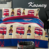 《KOSNEY 快樂巴士》頂級法蘭絨雙人四件式兩用被套床包組