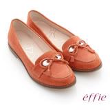 【effie】俐落職場 全真皮絨面細帶蝴蝶結飾平底鞋(橘)