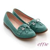 【effie】俐落職場 全真皮絨面細帶蝴蝶結飾平底鞋(綠)