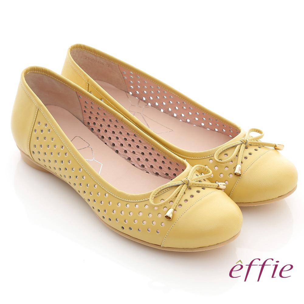 【effie】慵懶旅行 全羊皮細帶蝴蝶鏤空平底鞋(黃)
