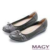 MAGY 甜美混搭新風貌 蝴蝶結水鑽娃娃鞋-灰色