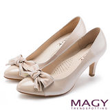 MAGY 美女系專屬 扭結蝴蝶結雙皮質高跟鞋-粉紅