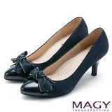 MAGY 美女系專屬 扭結蝴蝶結雙皮質高跟鞋-藍色