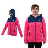 (女) ADIDAS 連帽外套-保暖 刷毛 慢跑 路跑 訓練 深藍桃紅