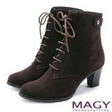 MAGY 紐約時尚步調 復古造型綁帶真皮粗跟短靴-咖啡