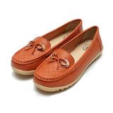 (女) 老船長 真皮菱格紋蝴蝶休閒鞋 橘 鞋全家福
