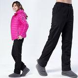 【遊遍天下】中性款防風防潑水禦寒刷毛保暖褲/ 防風雪褲P103黑色