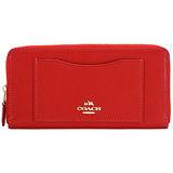 COACH 馬車防刮皮革前口袋ㄇ字拉鍊長夾(紅)