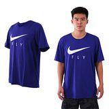 (男) NIKE 短袖針織衫-短T T恤 慢跑 路跑 籃球 藍銀