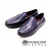 WALKING ZONE 真皮氣墊感舒適直套休閒男皮鞋-藍(另有棕)
