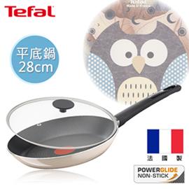 Tefal法國特福 琺瑯彩繪-貓頭鷹系列28CM不沾平底鍋+玻璃蓋
