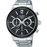 ALBA 光速效應三眼計時腕錶-黑/45mm VD53-X191D(AT3723X1)