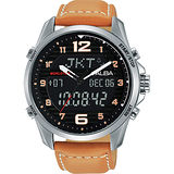 ALBA 雅柏 W兩個世界雙顯腕錶-黑/44mm N021-X004J(AZ4013X1)