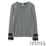 JESSICA-簡約慵懶蕾絲圓領上衣(灰)