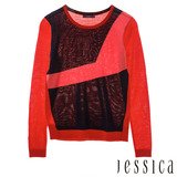 JESSICA-Ann 撞色復古幾何紋上衣(紅)