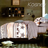 《KOSNEY 艾維斯》頂級精梳棉三件式單人床包雙人被套組台灣製造