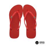【QWQ】創意設計夾腳拖鞋-璀璨晶鑽-搖滾紅(側鑽)