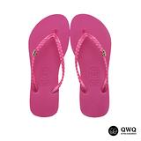 【QWQ】創意設計夾腳拖鞋-璀璨晶鑽-俏麗粉(側鑽)