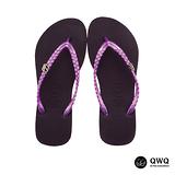 【QWQ】創意設計夾腳拖鞋-璀璨晶鑽-神秘紫(側鑽)
