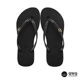 【QWQ】創意設計夾腳拖鞋-璀璨晶鑽-爵士黑(側鑽)