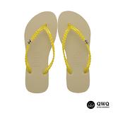 【QWQ】創意設計夾腳拖鞋-璀璨晶鑽-香檳金(側鑽)