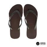 【QWQ】創意設計夾腳拖鞋-璀璨晶鑽-咖啡色(側鑽)